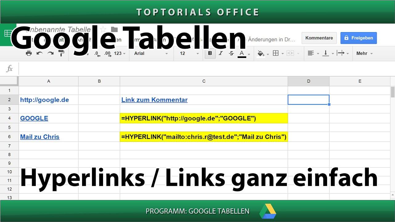 Hyperlinks / Links ganz einfach (Google Tabellen / Spreadsheets ...