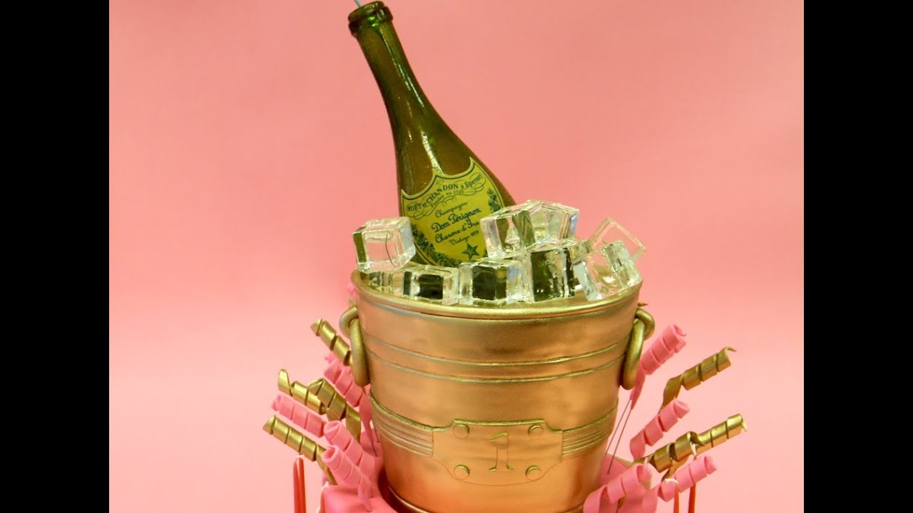 Gold Champagne Bucket Birthday Cake  YouTube
