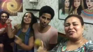 جنان ويزو و حمدي المرغني و اسراء عبدالفتاح وابرام  في كواليس مسرح مصر