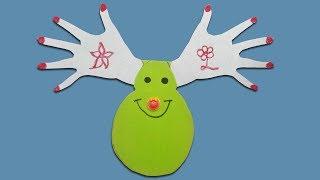 Christmas Origami: How to make Handprint Christmas Card  for Kids
