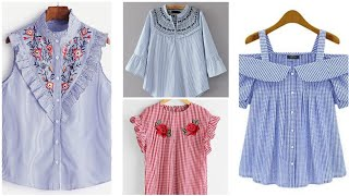 Top Beautiful Elegant Lining And Check Shirt Designs | Casual Shirts For Office Going Women