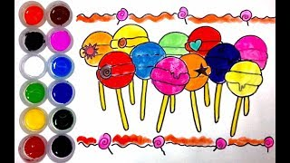 Dibuja y Colorea Lollipop, Dulces de Arco Iris - Dibujos Para Niños - Learn Colors / MD Kids
