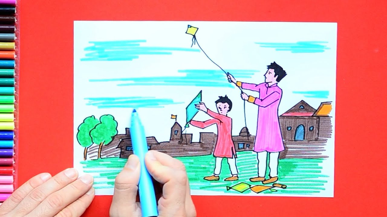 How To Draw And Color Kite Flying Makar Sankranti Festival Youtube