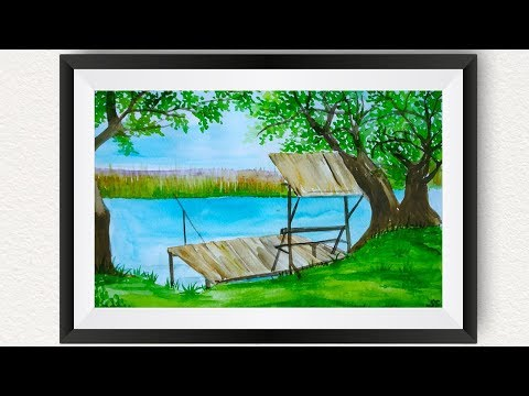Easy landscape watercolor painting for beginners : How to paint beautiful riverfront fishing scenery