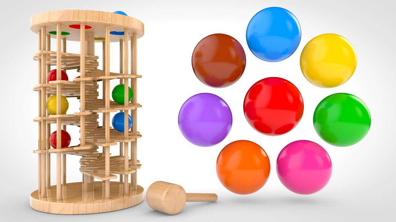 Toys R Us Ball Color : Learn colors with wooden ball hammer educational toys