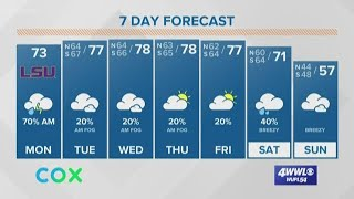 New Orleans Morning Forecast: cloudy and warmer with some rain today