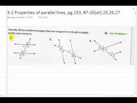 Common Core Geometry 3-2 Properties of parallel lines, mr.park ...