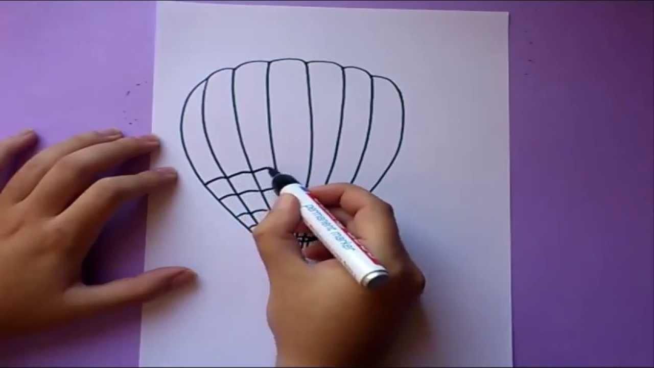 Como dibujar un globo aerostatico paso a paso  How to draw a hot