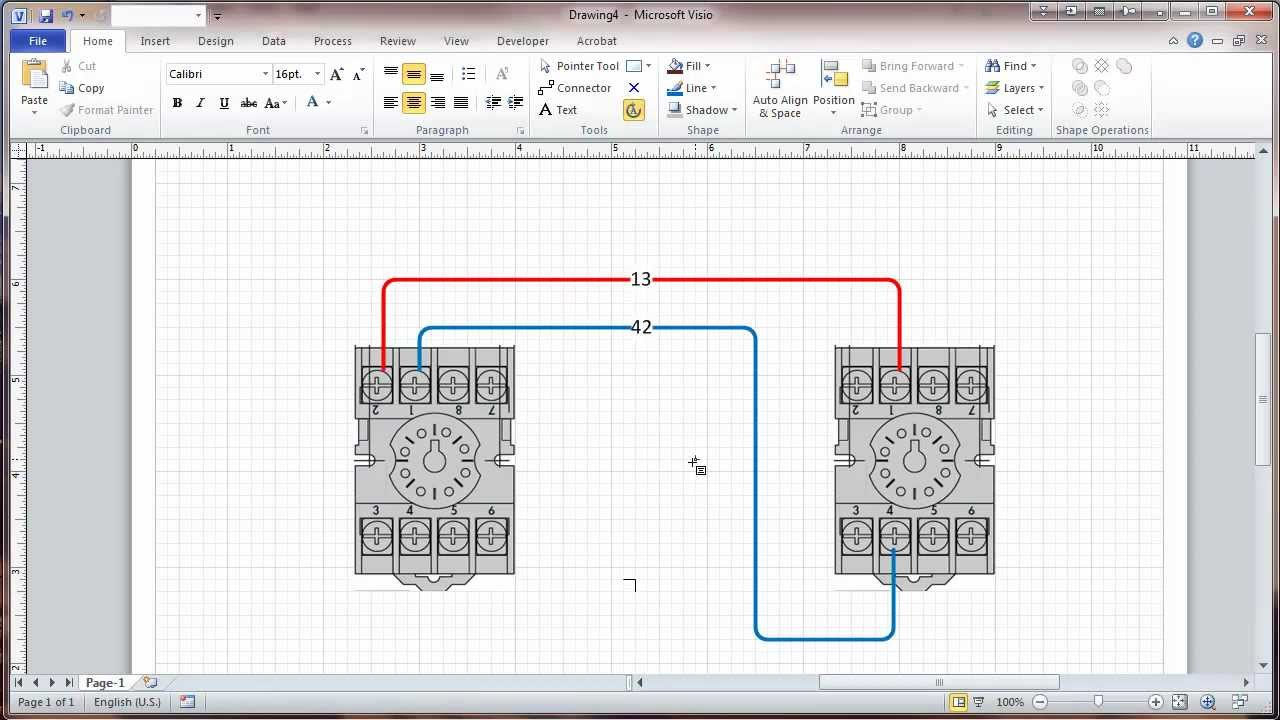 visio 2010 connectors and connection points tutorial wiring rh youtube com visio electrical schematic template Visio Electrical Diagram