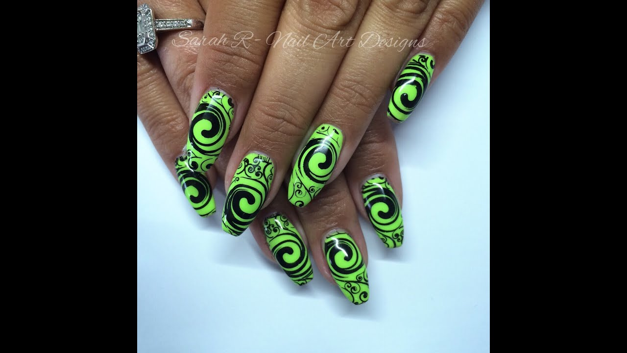 Neon Lime Green & Black Swirls | Stamping Fun Friday - YouTube