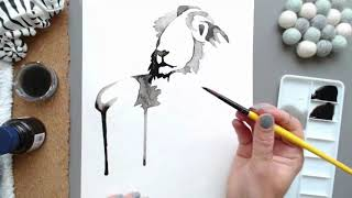 Painting process Time Lapse— Lion ink speed painting
