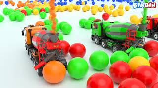 Colors For Children To Learn With Crane Truck Toys #v | Colours Truck Transport Vehicles for Kids