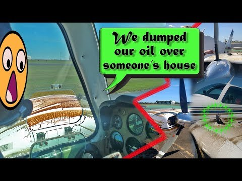 REAL ATC Beech Baron ENGINE BREAKS APART AND LEAKS OIL!