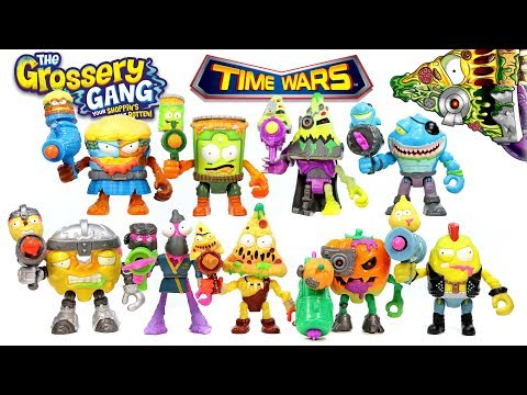 The Grossery Gang Time Wars Series 5 Powered Up Action Figures w/ Grot Blaster Complete Set