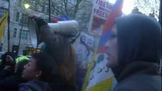 Chinese Leaders In Uk - Protest Outside Chinese Embassy London