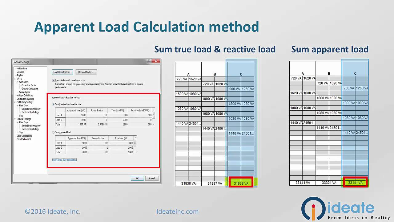 Revit MEP 2017 Electrical Apparent Load Calculation Options