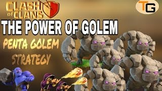 THE POWER OF GOLEM| Th 9 PENTA GOLEM ATTACK STRATEGY| CLASH OF CLANS
