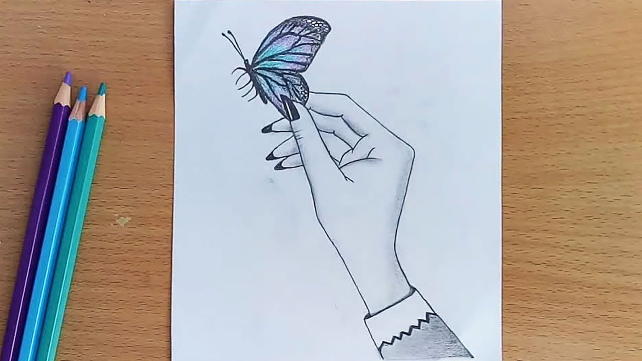 How to draw butterfly in the hand with pencil sketch