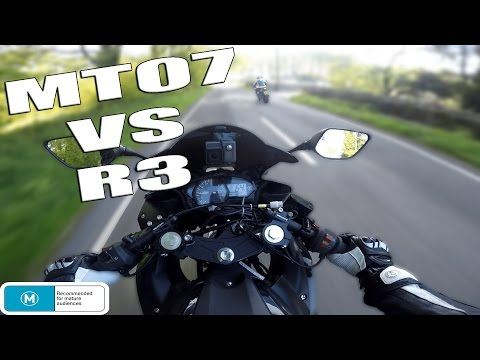 YAMAHA R3 vs YAMAHA MT07 (RESTRICTED) | DRAG RACE - 0-60 MPH