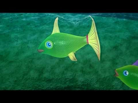 Flowing Water 3D Animation, Fish Swimming 3D Animation