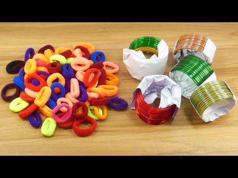 DIY Hair rubber bands & Old bangles reuse idea | DIY art and craft | DIY HOME DECO