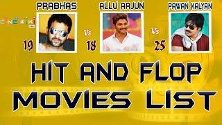 Prabhas Vs Allu Arjun Vs Pawan Kalyan Hit and Flop Movies list |Power Star Alluarjun All Movies List
