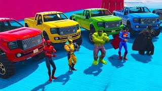 LEARN COLORS with SUPERHEROES on 4X4 OFFROAD TRUCKS Fun Animation Cartoons for Children and Kids!