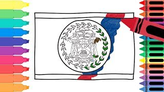 How to Draw Belize Flag - Drawing the Belizean Flag - Coloring Pages for kids | Tanimated Toys