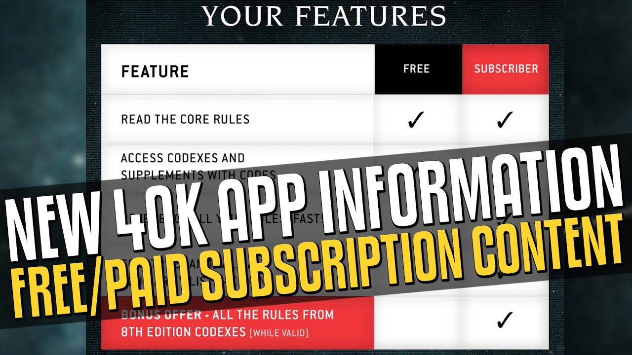 40k App Information: Free/Paid Subscription content