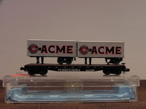 Wehavalot Vintage Atlas Brand Pennsylvania Piggy Back Freight Car With Acme Semi Trailers From 1970'