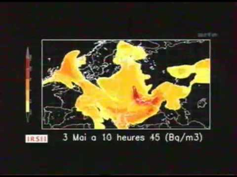 Evolution du nuage radioactif de la catastrophe à la central nucléaire de tchernobyl 26/04/1986