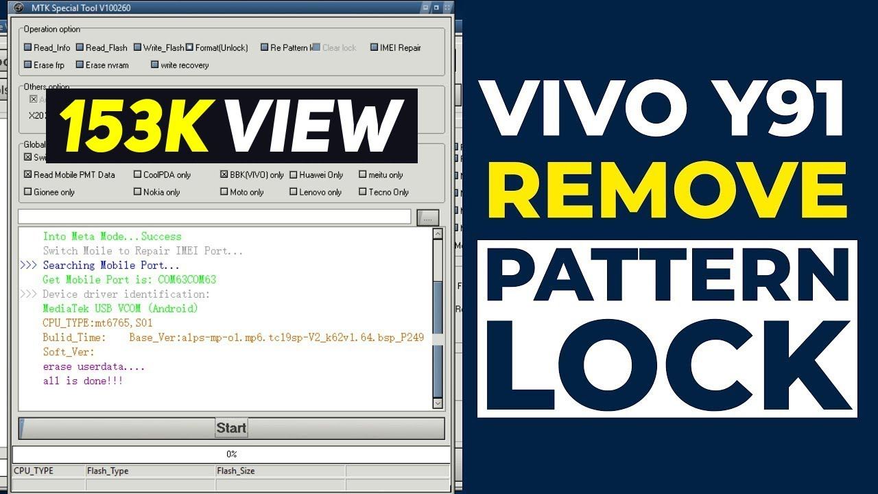 VIVO Y91 REMOVE PATTERN & FRP LOCK MRT Key