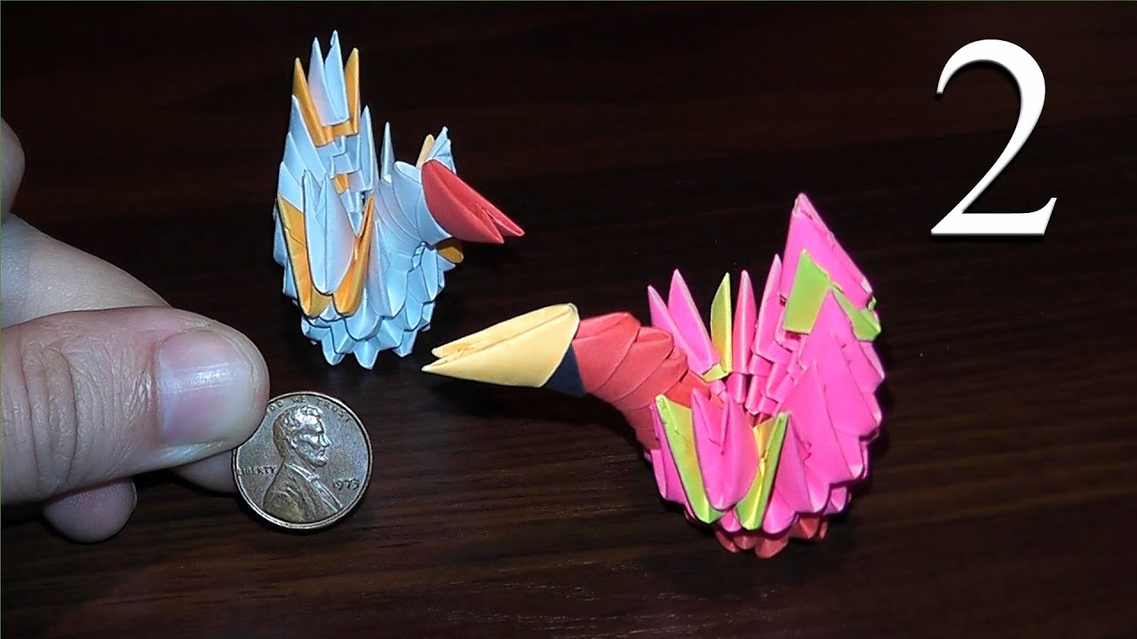 How to make mini swan out of paper tutorial 3D origami ... - photo#17
