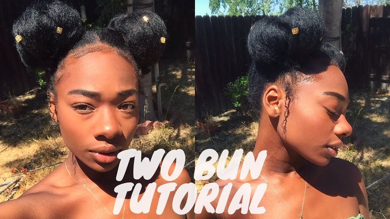 Two Buns Tutorial On Natural Hair Youtube