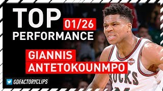Giannis Antetokounmpo TOP Full Highlights vs Nets - 41 Pts, 13 Reb, 7 Ast | 2018.01.26