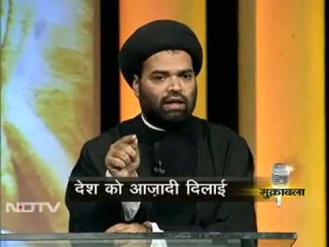 Maulana Syed Kalbe Rushaid Rizvi in NDTV MUKABLA Supporting Mahatma Gandhi - Part 3 of 3