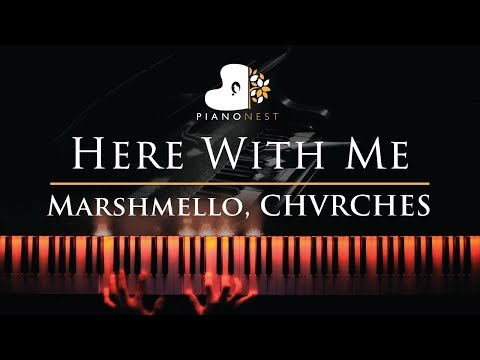 Marshmello, CHVRCHES - Here With Me - Piano Karaoke / Sing Along Cover With Lyrics