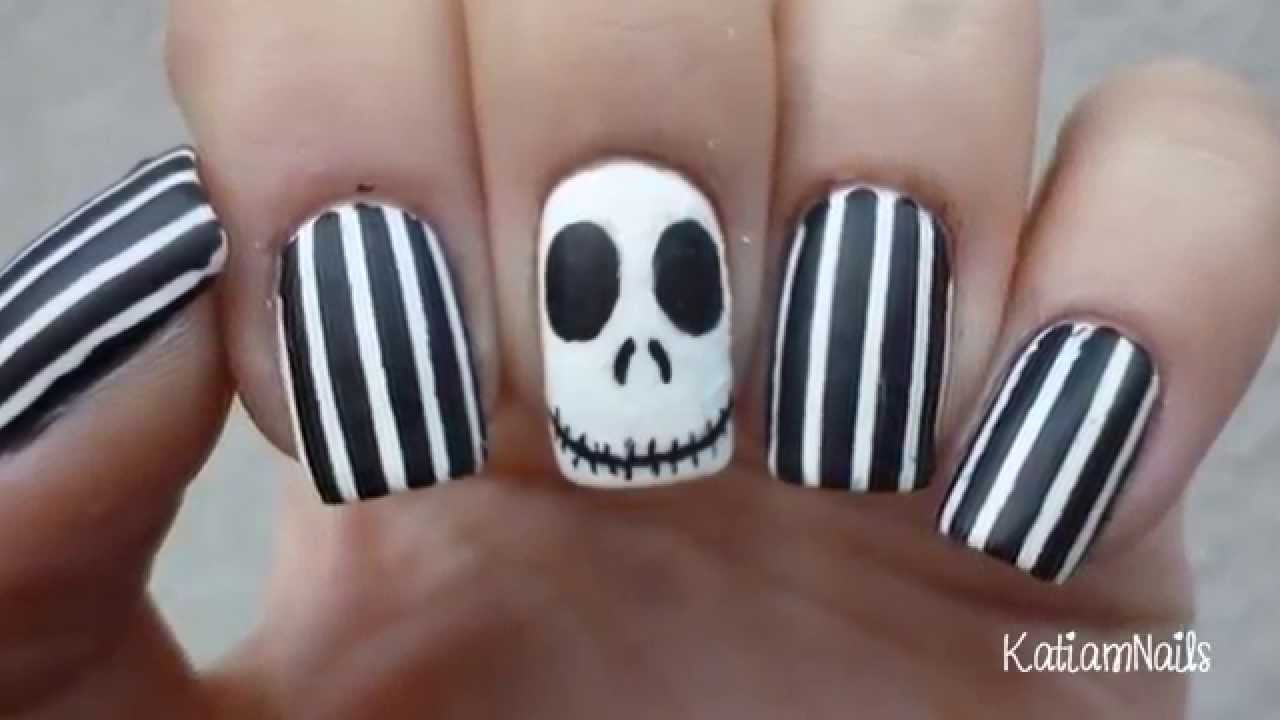 Jack skellington nails halloween nail art 2015 youtube prinsesfo Images