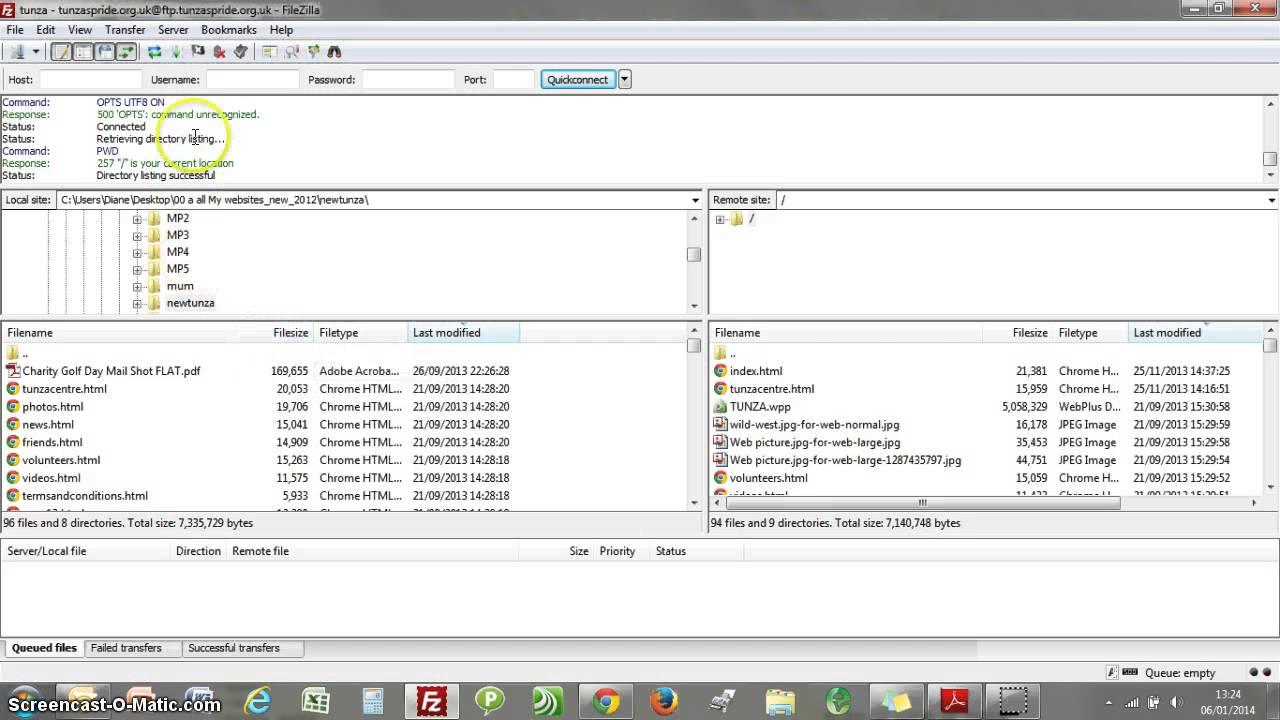 Updating websites filezilla