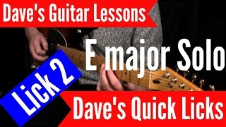 E major Guitar Solo - Lick 2 with Tabs