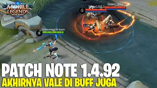 VALE BUFF, ALUCARD BUFF LAGI, KIMMY NERF, CLAUDE NERF - PATCH NOTE 1.4.92 MOBILE LEGENDS