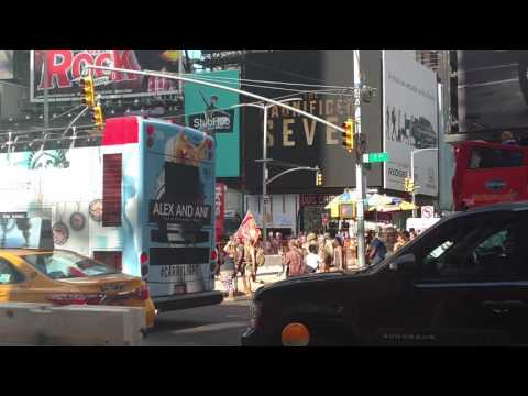 MARINE MARCH & CHANT 'USA' IN TIMES SQUARE NEW YORK CITY (NYC)