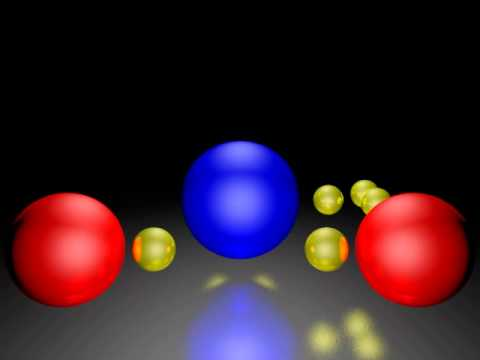 Two hydrogen atoms binding to Oxygen atom