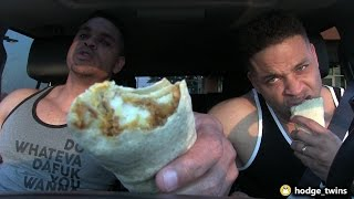 Eating Taco Bell Cheesy Potato Burrito | Food Review | @hodgetwins