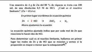 problema resuelto de reactivo limitante zn y hcl
