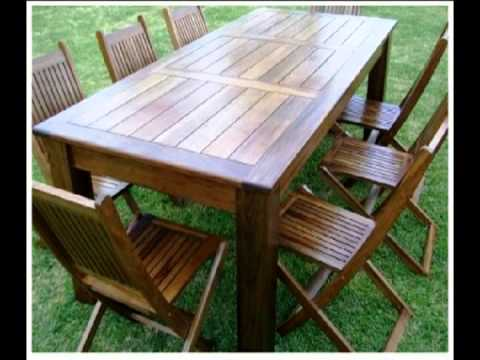 Muebles de madera mueble para quincho juegos de comedor youtube for Juegos de jardin rusticos