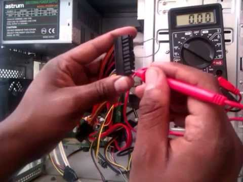 how to test a PSU power supply unit voltage using multimeter - YouTube