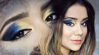 Gelb-und-blau-make-up für padnuté Deckel / Gelb Und Blau Make-up, Auch Für tiefliegende Augen