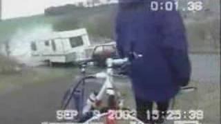 Small Car towing caravan crashes