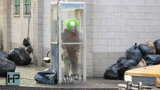 Joaquin Phoenix Films JOKER - Crying in Phone Booth - Full Makeup and Costume